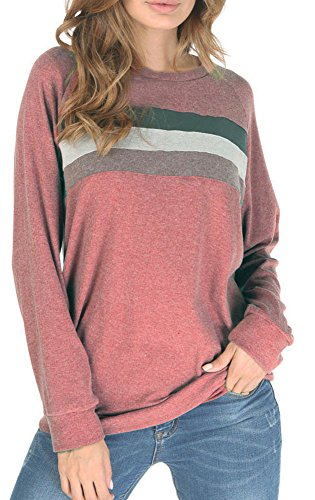 Casual Tshirt Blouse Top for Teens Color Block Round Neck Sweatshirt Brick Red S