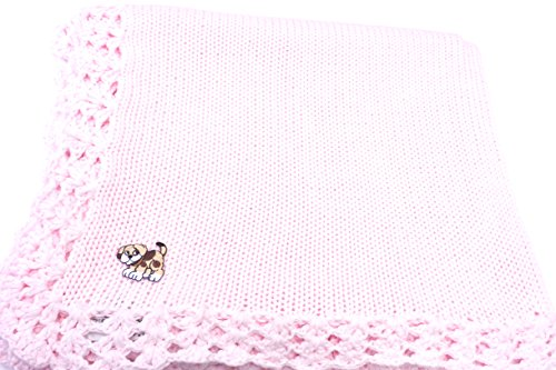 knitted-crochet-finished-pink-cotton-baby-blanket-with-brown-dog-applique