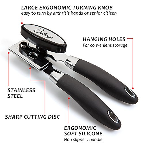 Belinix-Stainless-Steel-Manual-Can-Opener-Professional-Heavy-DutyErgonomic-Anti-Slip-DesignBig-Knob-For-Easy-TurnGood-Soft-Grips-HandleSafety-Smooth-Edge-No-Sharp-CutsIdeal-for-ArthritisBlack
