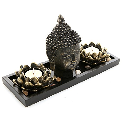MyGift Buddha Head Sculpture Zen Garden Set w/Lotus Tealight Candle Holders & Wooden Display Tray, Black - Chinese Flower Lotus Art