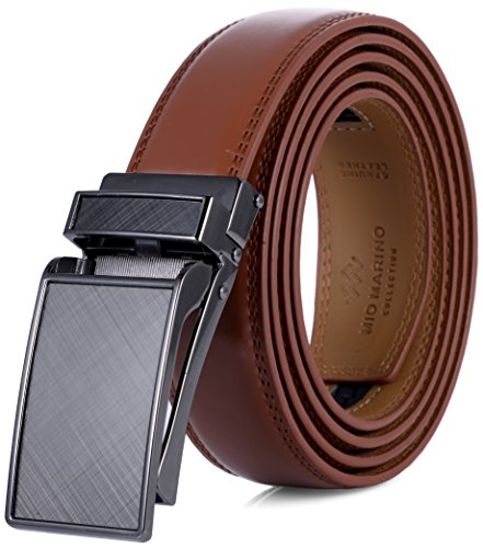 Marino Avenue Men's Genuine Leather Ratchet Dress Belt with Linxx Buckle - Gift Box (Tan - Style 110, Adjustable from 38