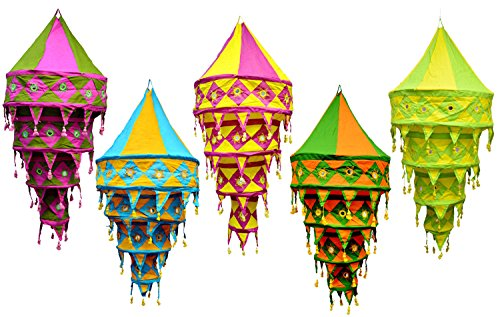 Price comparison product image Wholesale Lot Indian Decorative Cotton Lampshade Handmade Embroidered Lanterns Collapsible (5 Pcs)