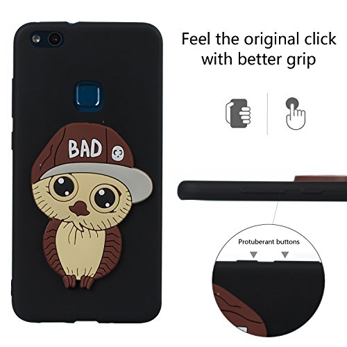 Huawei Mate 10 Pro Case + Free HD Screen Protector,idatog® 3D Cute Cartoon Owl Design Soft Silicone Gel Skin Cover Case Flexible TPU Creative Case Bumper Shockproof Anti-Scratch Protective Back Cover Black