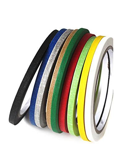 Set of 10 Colourful Self Adhesive Chart Tapes Artist Tape Whiteboard Gridding Graphic Tape Grid Marking Tapes Warning Line Tapes (5mm Width) by Flyott