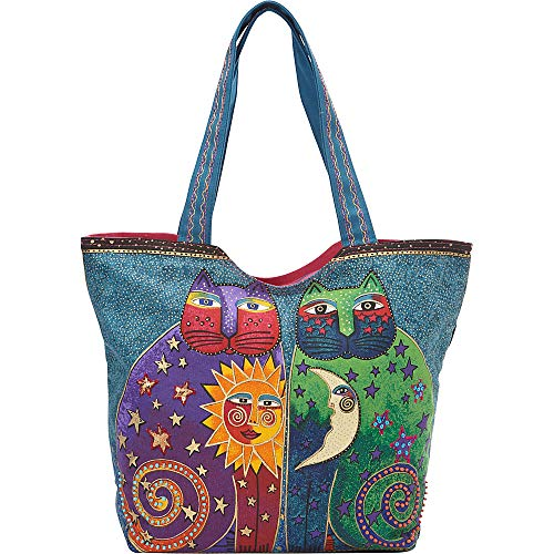 Laurel Burch Scoop Tote Zipper Top, 19-1/2-Inch by 5-Inch by 15-Inch, Celestial Felines