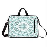 """15"""" Neoprene Laptop Bag Sleeve with Handle,Adjustable Shoulder Strap & External Side Pocket,Aqua,Mandala Tribal Ethnic Design Tie Dye Floral Leaves Seem Design Image Art Print,Sea Green White"""