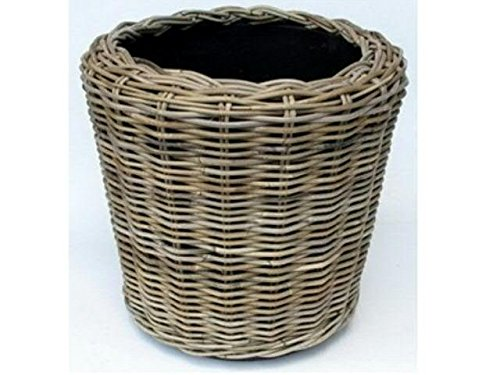 Korb Kubu - Weiden Korb mit Einsatz - D65cm / H50cm - Grau - Terassenkübel - Pflanzgefäß