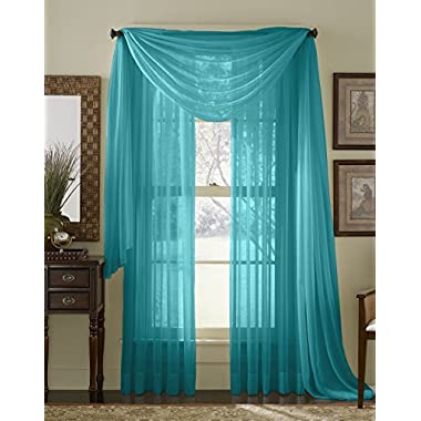 84  Long Sheer Curtain Panel - Turquoise