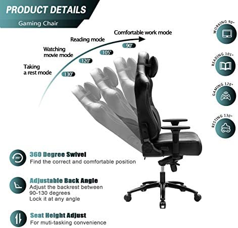 Blue Whale Super Big and Tall Gaming Chair with Massage Lumbar Support,Sedentary Reminder,Metal Base and Aluminum Alloy Armrest High Back PC Racing Office Computer Desk Ergonomic Swivel Task Chair 51WI4cYueuL