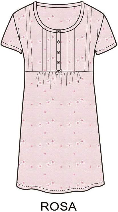 Vilfram Apertura a 4 Bottoni e Fiocchetto in Raso Camicia da Notte Mezza Manica Sottoveste Donna 100/% Cotone Biancheria Lingerie da Notte