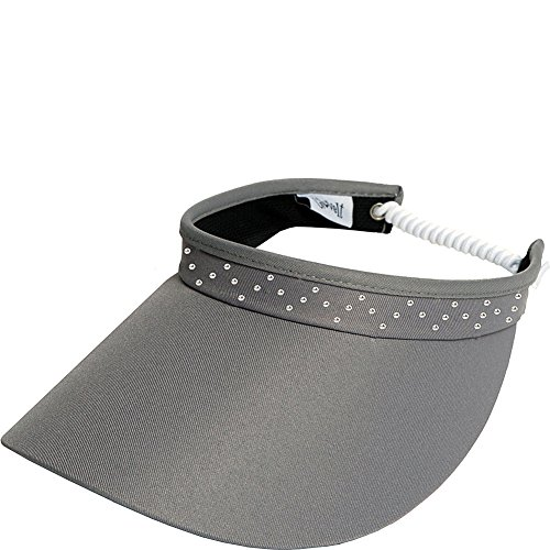 Womens Adjustable Coil Visor Glove It Golf & Tennis Head Visors for Women UV 50 Protection Ladies Sun Visor Hat Large Wide Brim Pink Bling