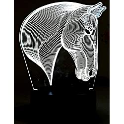 Lightingsky 3D Desk Lamps 7 Colors Touch Control Night Light USB Table Lighting (Horse Heard)