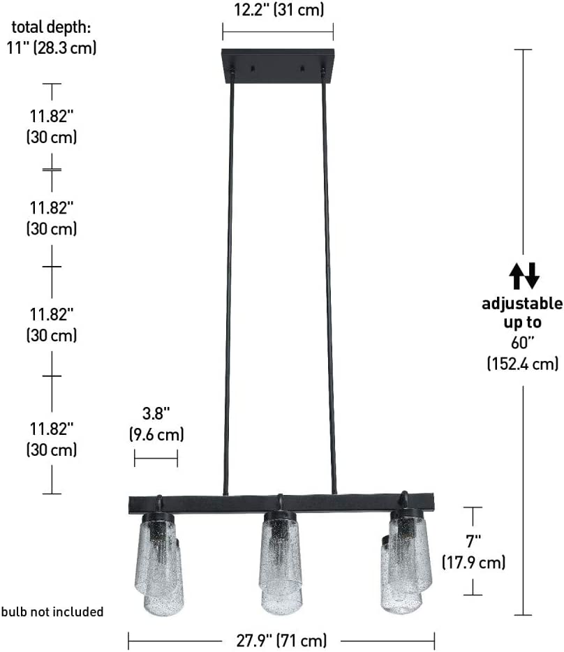 Clear Seeded Glass Shades Matte Black Globe Electric 44243 Tyson 6-Light Outdoor//Indoor Chandelier