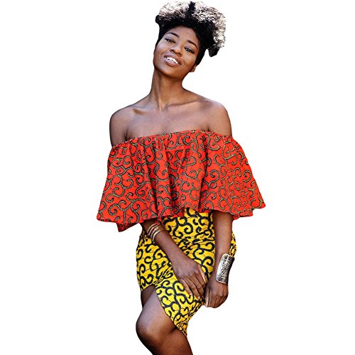 BENNINGCO Womens Print Off Shoulder Top(Orange,L) ()