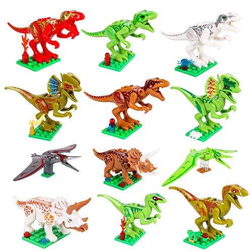 M SANMERSEN Dinosaur Building Blocks, 12 PCS Kids Mini Dinosaur Figures Bricks Toys for Boys Girls Birthday/Christmas Party Favors