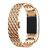 """Metal Bands for Fitbit Charge 2,Charge2 Tracker Replacement.Premium Solid Stainless Steel Metal Wristband for Fitbit Charge 2 HR Smart Fitness Watch-Men/Women 5.1""""-8.0"""" (Rose Gold)"""