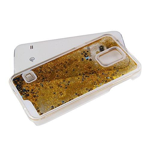 Schutzhülle für Samsung Galaxy S5, Nsstar® Gold Hard Plastic Handyhülle Transparent Clear Cystal Case Glitter Flowing Bling Sterns und Sparkles Shinny Attraktiv Anti Scratch Hart Hülle Etui Schale für