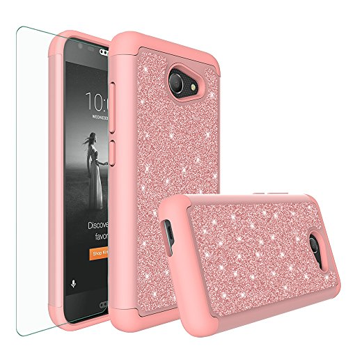 Alcatel A30 Case,Alcatel Kora Case,Alcatel Zip LTE Case, Glitter Bling Hybrid Case with [HD Screen Protector] Dual Layer Protective Case Cover for Alcatel A30/Kora - (Rose Gold)