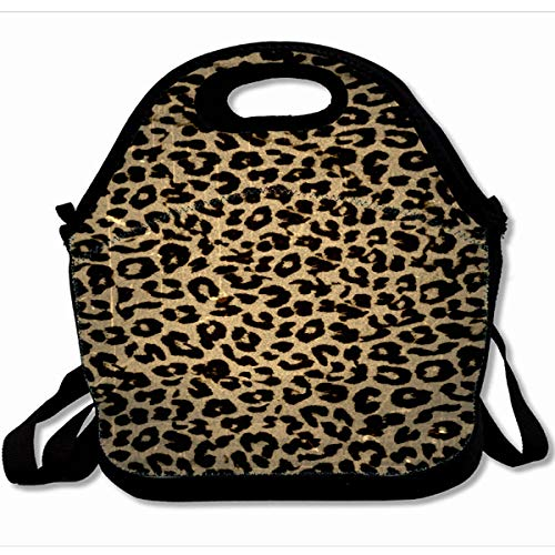 Ahawoso Reusable Insulated Lunch Tote Bag Vintage Leopard Print Skin 10X11 Zippered Neoprene School Picnic Gourmet Lunchbox