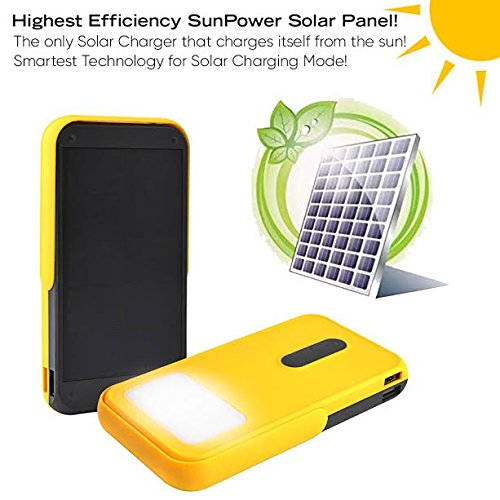 Solar Charger, PowerLocus 13400mAh Solar Power Bank SunPower Portable Dual USB Solar Panel Powered Phone Charger External Travel Battery Pack for iPhone Samsung S8 iPad