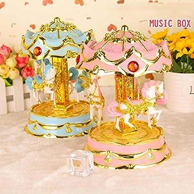 SPFAZJ Navidad Musical Caja octava Rosa luz Levantamiento carrusel ...