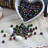Magnolora 800 Pcs Acrylic Letter Beads Black Alphabet Beads with Multicolor Letters, Mixed Color Alphabet ''A-Z'' Cube Beads for DIY Bracelets, Necklaces, Children's Educational Toys, Handmade Gift