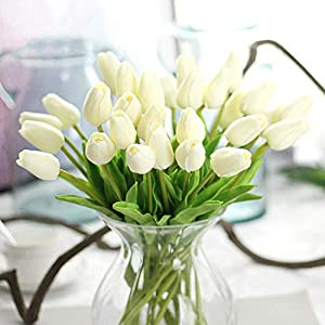 GSD2FF 1PC Tulips Artificial Flowers Real Touch PU Artificial Bouquet Tulip for Home Wedding Decoration Flower,Milky White 14