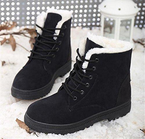 Femmes Daim Imperméable Plate Plate-forme Sneaker Chaussures Plus Velours Hiver Femmes Lacets Coton Bottes De Neige Noir