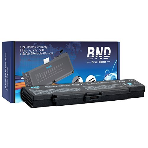 BND Laptop Battery [with Samsung Cells] for Sony VAIO PCG VGN-AR VGN-NR VGN-SZ VGN-CR Series, fits P/N BPS9, VGP-BPL9, VGP-BPS9, VGP-BPS9/B, VGP-BPS9/S, VGP-BPS9A, VGP-BPS9A/B - 24 Months Warranty [6-Cell 11.1V 5200mAh/58Wh]-Black