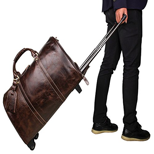 Men's Large Genuine Leather Travel Wheeled Duffle Luggage Carry On Rolling Duffel (Chocolate (Chocolate Small Rolling Luggage)
