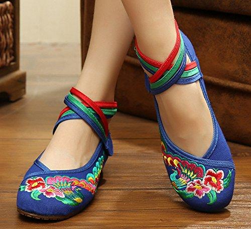 Caviglia Scarpe A Donna Icegrey Basse Scarpe Mano Ricamato Piatte Attraversamento Ballerine Blu WwSB0FqBz