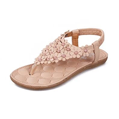 LOSORN ZPY Damen Bohemian Sandalen Flats Zehentrenner Pantoffeln Sandaletten Sommerschuhe (EU 35(Tag 36), 669-Weiß)