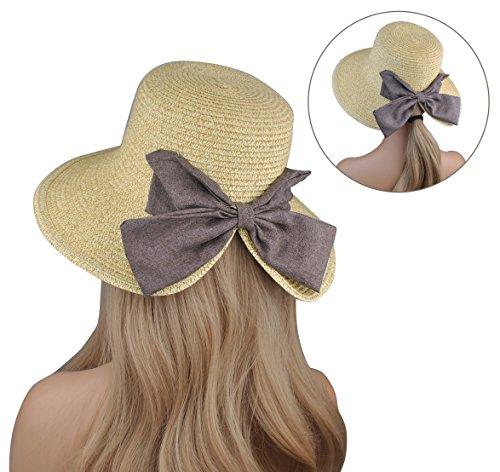 EINSKEY Womens Straw Sun Hat Bowknot Wide Brim Bucket Hat with Neck Cord for Summer Beach Fishing (Dark Beige) by EINSKEY (Image #5)