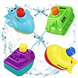 BESTRY-US Baby Bath Toys Bathtub toys for Toddlers Floating Squirt Boat Bath Toy Set for Boys and Girls,BPA Free,4 Pack