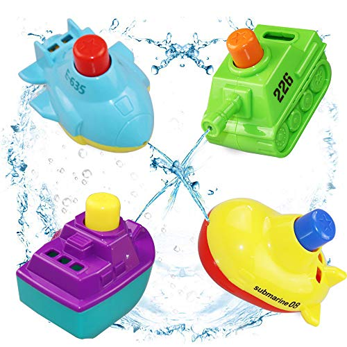 LECAMEBOR Baby Bath Toys Bathtub Toys for Toddlers Floating Boat Bath Toy Set for Boys and Girls,BPA Free,4 - Toddler Boat