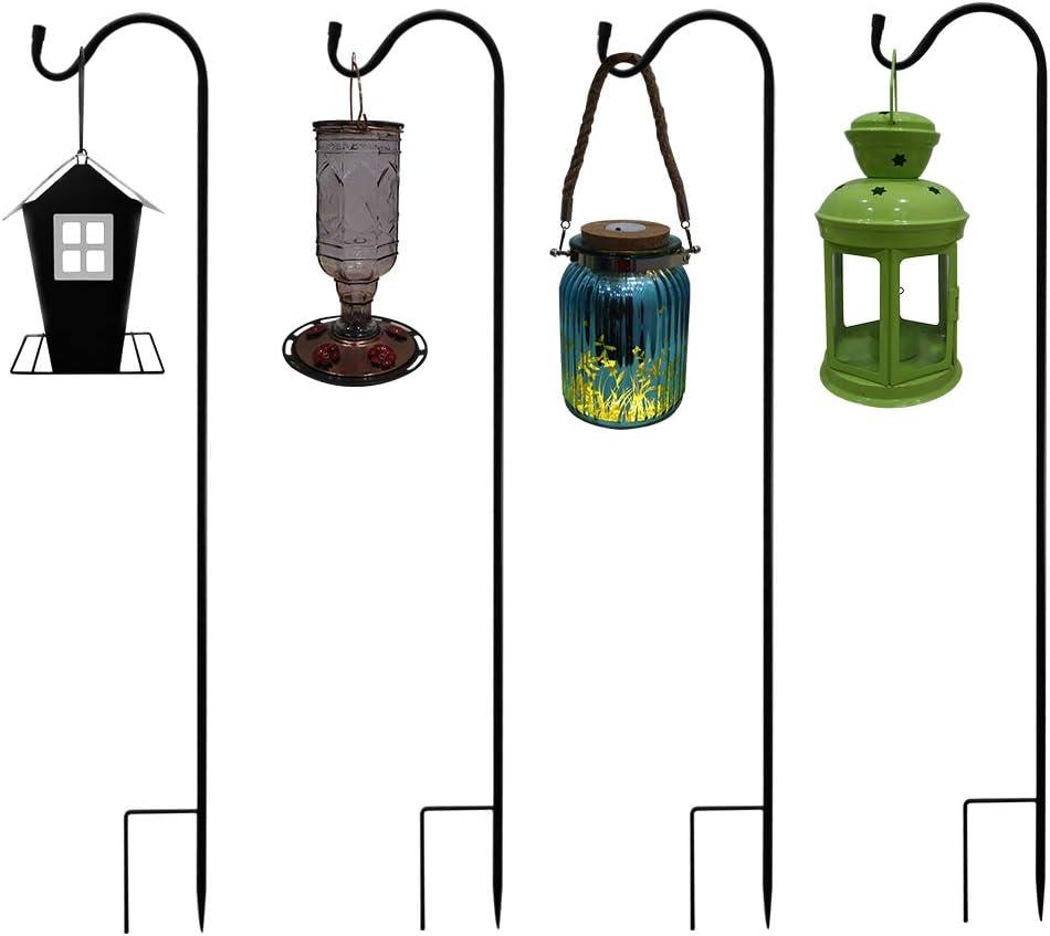 Shepherd Hooks Garden Planter Stakes Extendable Hangers Premium Metal 36.5 inch Heavy Duty Rust Resistant Hooks for Weddings Plant Baskets Solar Lights Lantern Bird (4 Packs Extendable Shepherd Hooks)