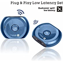Avantree PLUG & PLAY aptX Low Latency Bluetooth Transmitter and Receiver Set / Pair for TV, Headphones, Speakers, Bluetooth Range Extender Repeater, 3.5mm Wireless Audio Adapter for Home Stereo - Lock