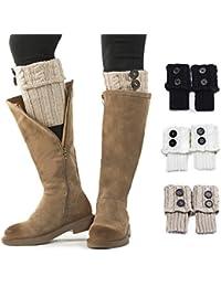 Women Boot Knit Cuffs ,Short Crochet Leg Warmers, Variety of Styles Winter Warm Cuff Socks 3 Pairs by REDESS