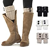 Women Boot Knit Cuffs ,Short Crochet Leg Warmers, Variety of Styles Winter Warm Cuff Socks 3 Pairs by REDESS