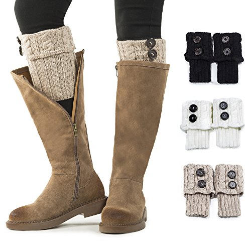- Women Boot Knit Cuffs,Short Crochet Leg Warmers, Variety of Styles Winter Warm Cuff Socks 3 Pairs by REDESS