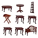 Dovewill 9 Pieces Vintage Wooden 1:12 Dollhouse Miniature Table Chair Furniture Set Decoration