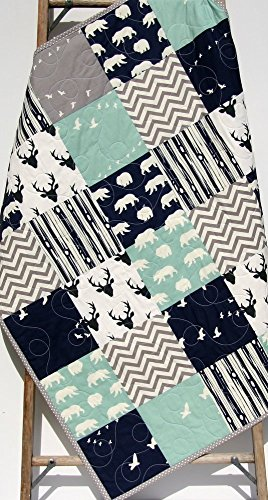 Boy Quilt Modern Baby Bedding Woodland Deer Bears Navy Blue Light Teal Buck Chevron Handmade Crib or Toddler Size by Sunnyside Designs