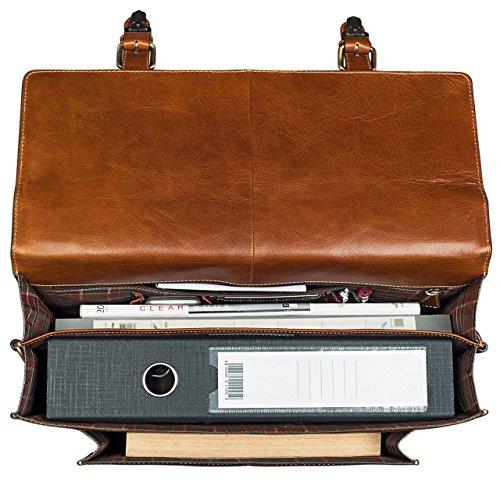 STILORD 'Lorenz' Vintage Aktentasche Leder groß Herren Damen Lehrer Business Bürotasche 15,6 Zoll DIN A4 echtes Leder cognac / braun