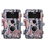 Cheap BlazeVideo 2-Pack HD 16MP 1920x1080P Video Game Trail Cameras No Glow Infrared Hunters Deer Hunting Wildlife Cams IP66 Waterproof & Password Protection Motion Activated 65ft Night Vision 2.4″ LCD