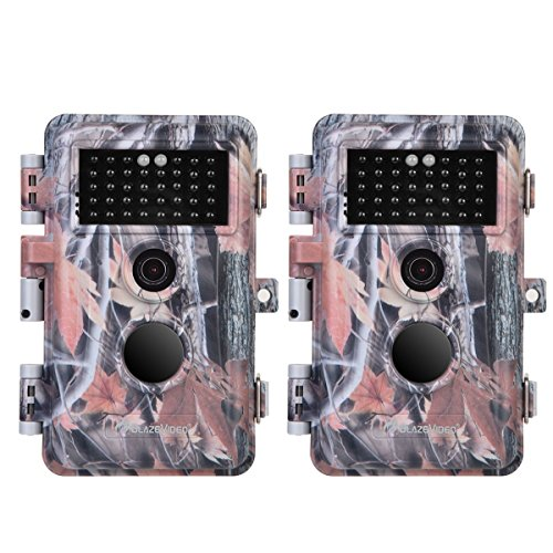 BlazeVideo 2-Pack HD 16MP 1920x1080P Video Game Trail Cameras No Glow Infrared Hunters Deer Hunting Wildlife Cams IP66 Waterproof & Password Protection Motion Activated 65ft Night Vision 2.4 LCD