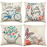 Anickal Spring Decorations Set of 4 Decorative Pillow Covers 18 x 18 Hello Spring Wreath Bicycle Butterfly Cotton Linen Pillow Cases for Spring Home Décor
