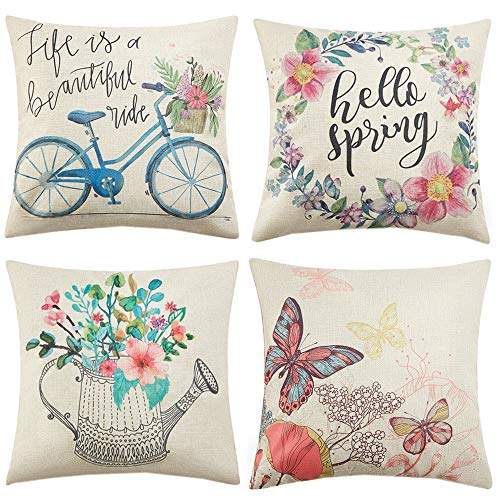 Anickal Spring Decorations Set of 4 Decorative Pillow Covers 18x18 Hello Spring Wreath Bicycle Butterfly Cotton Linen Pillow Cases for Spring Home Farmhouse Decor