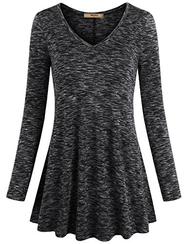 (Miusey Maternity Tunic, V Neck Long Sleeve Flared Shirt for Leggings Flowy Loose Fit Motherhood Casual Tops Clothing Multicolor Black)