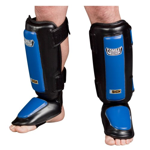 Combat Sports Kickboxing Gel Shock Shin Guards (Black, Large)