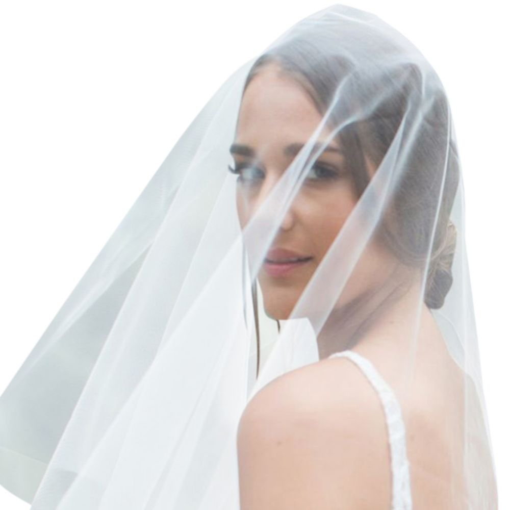 Silk Tulle Circle-Cut Drop Veil Style BERTA, Ivory